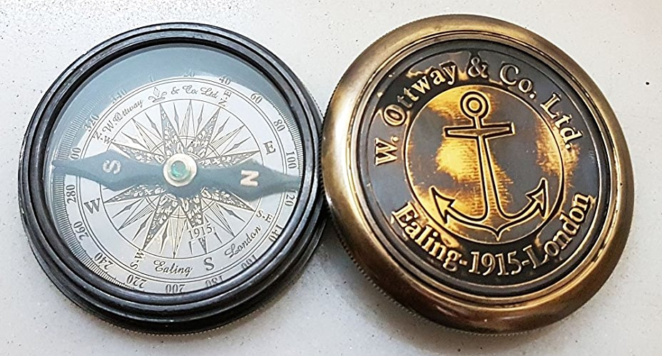 Nautique Boussole de poche 6,3cm Finition laiton antique Boussole