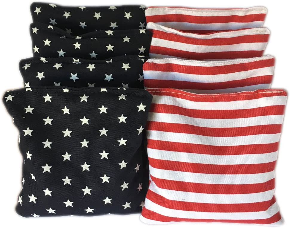 American Stars and Stripes Cornhole Bags (Set of 8) - Official Size & Weight - USA Flag - Red White and Blue - Bonus Tote Bag Included