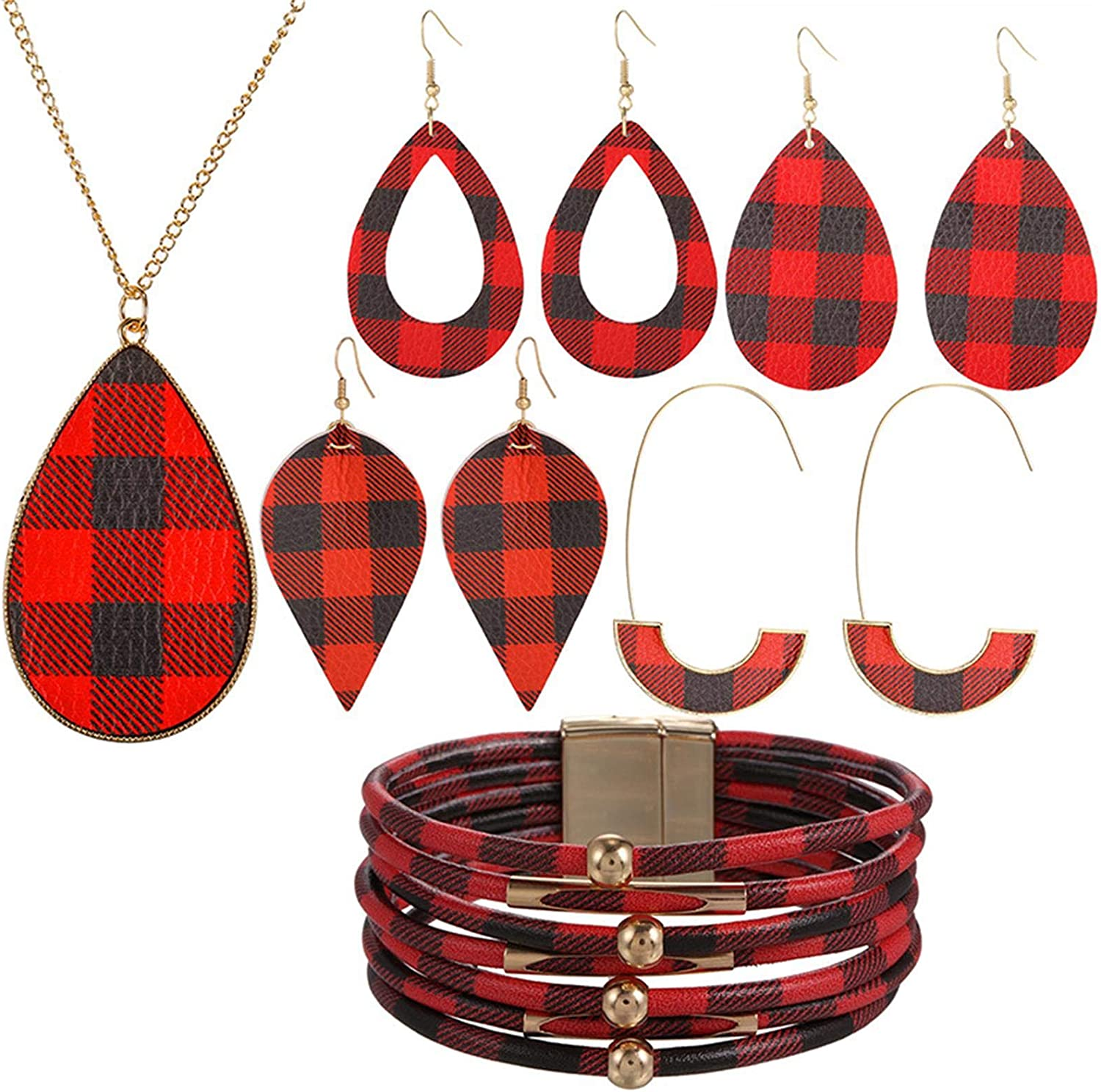 6 Pieces Christmas Plaid Print Jewelry Set Christmas Plaid Multi-Layer Bracelet Buffalo Plaid Faux Leather Dangle Earrings Waterdrop Pendant Necklace for Women Christmas Jewelry Accessories