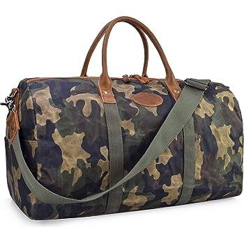 Canvas Genuine Leather Trim Travel Bag Guy Stuff Ultimate Carry On Bag TA-117082-KHAK-OS