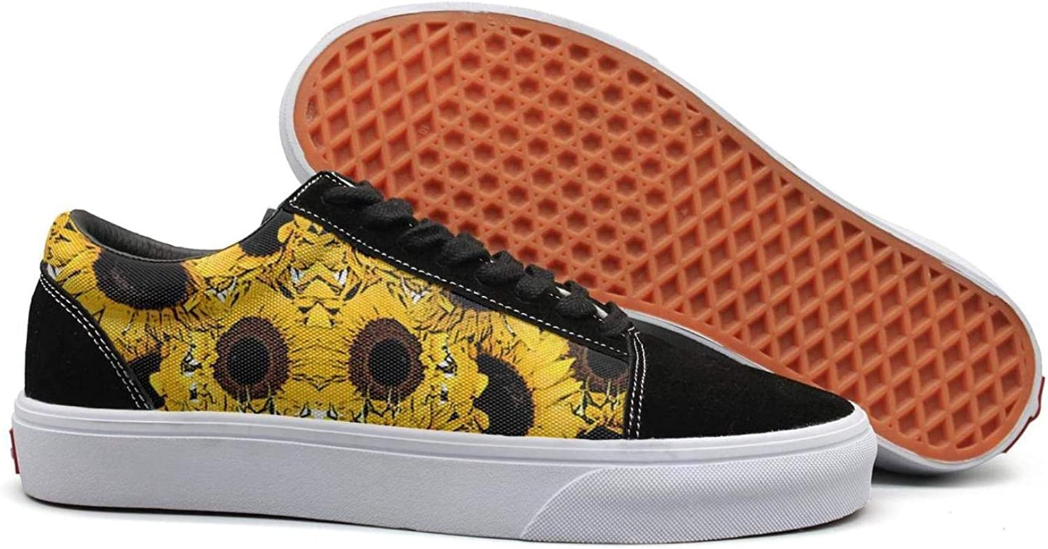 Uieort Yellow Sunflower Background Womens Lace up Sneakers shoes Rubber Sole