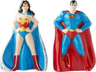 Enesco 6003734 DC Comics Ceramics Superman and Wonder Woman Salt and Pepper Shakers, 3.5 Inch, Multicolor