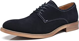 La Milano Suede Lace Up Leather Oxfords Classic Comfortable Modern Plain Toe Dress Shoes for Men black Size: 12