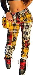 Amazon Es Pantalones De Cuadros Mujer Amarillo Pantalones Mujer Ropa