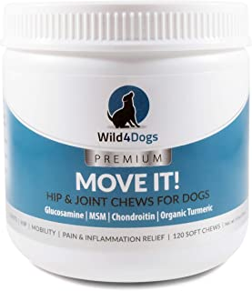 Wild 4 Dogs Hip & Joint Supplement - 120 Soft Chews with Glucosamine Chondroitin, MSM & Organic Turmeric - Dog Arthritis Pain Relief - Dog Joint Care Supplement - Glucosamine for Dogs