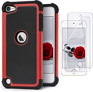 IDweel iPod Touch 7 Touch 6 Touch 5 Case with 2 Screen Protectors, [Anti-Slip Series] Shockproof Durable Hybrid Dual Layer Rugged Protective Case Cover for Apple iPod Touch 5/6/7th Generation- Red
