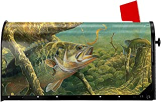 Granbey Fishing Fish Welcome Mailbox Cover Magnetic Beautiful Big Bass Fish Mailbox Covers Waterproof Mailbox Wraps Post L...