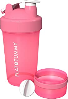 Flat Tummy Tea 20 oz / 600ml Protein Shaker Bottle with Storage, 100% BPA and Lead Free, Leak Proof Fitness Sports Nutrition Supplements Mix Shake Bottle
