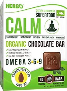 Herbo Superfood Calm Supplement in Organic Milk Chocolate - Delicious Taste 30 Bars for Relief Anxiety, Calms Nerves & Mind and Helps for Restful Sleep - Herbal Blend with Magnesium, Calcium & Omega 3