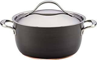 Anolon Nouvelle Copper Hard-Anodized Nonstick Covered Dutch Oven, 5-Quart, Dark Gray