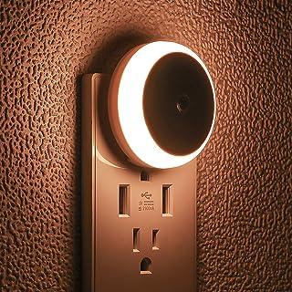LED Night Light by myCozyLite, Plug in, Warm White Diffused Light, Dusk to Dawn Sensor, Energy Saving Small Light, Round, ...