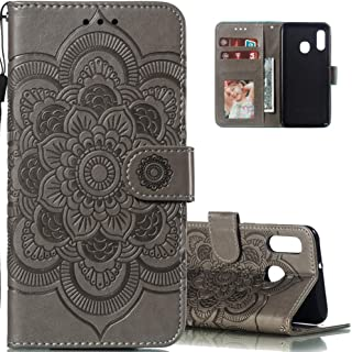 LEECOCO for Galaxy A10E Case Mandala Embossing Luxury PU Leather Flip Notebook Wallet Bookstyle Magnetic Stand Card Slot Folio Bumper Protection Cover for Samsung Galaxy A10E / A20E Mandala Gray LD