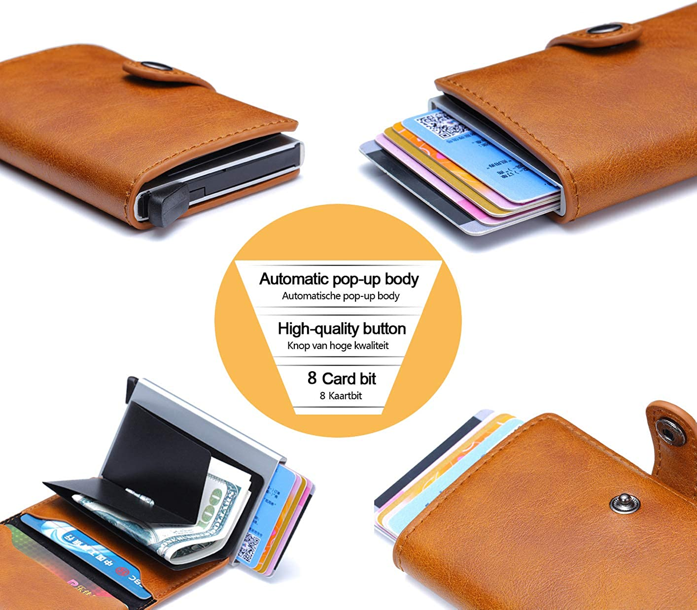Credit Card Case with Money Clip Holder, Mini Leather Wallet for Credit Card RFID Protection - Easy Push Button Use