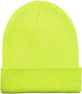 e9485bce2c61d Opromo High Visibility Neon Color Cuffed Long Beanie Reflective Knit Winter  Hat