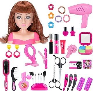 MAJOZ0 Cabeza para Maquillar y Peinar,36 Piezas Juguetes de Belleza y Peluqueria con Accesorios,Regalo para Ni/ños
