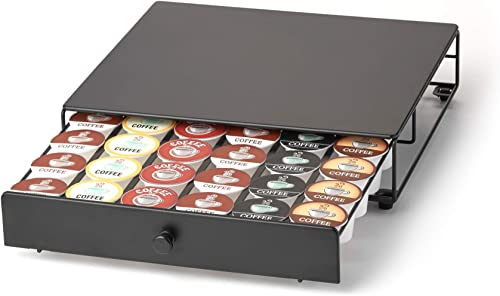 Nifty Rolling Coffee Pod Drawer – Black Finish, Compatible with K-Cups, 36 Pod Pack Holder, Compact Under Coffee Pot ...