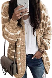 Women Open Front Long Sleeve Stripe Loose Fit Knitted Sweater Cardigan
