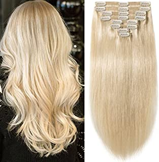 "s-noilite 10""-22"" Thick Double Weft 130-160g Grade 7A 100% Clip in Remy Human Hair Extensions Full Head 8 Piece (18""-140g #60 Platinum Blonde)"