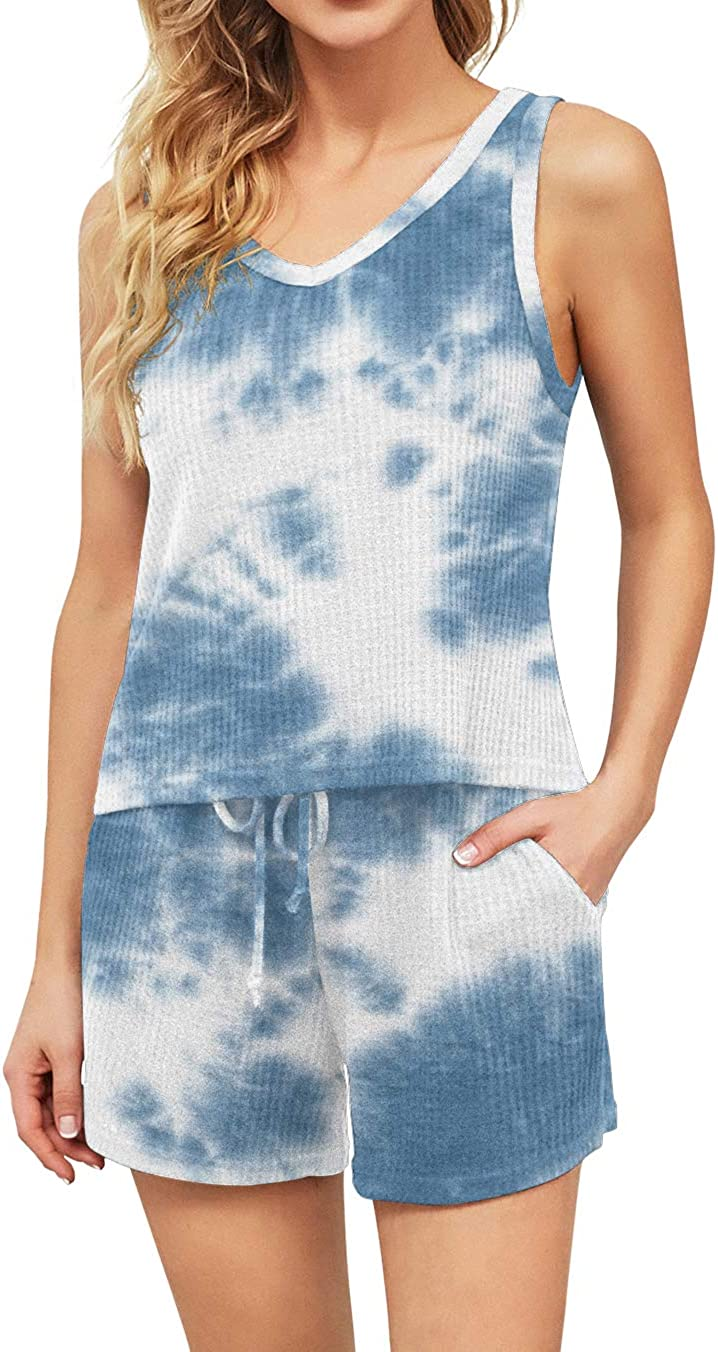 DEARCASE Special sale item Women's Waffle Knit Sleeveless Max 56% OFF Top Shorts N Tie and Dye