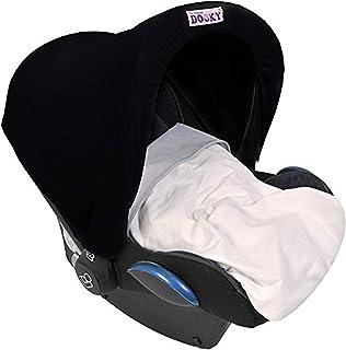 Original Dooky Hoody Sonnenschutz für Babyschalen der Altersgruppe 0 inkl. UV-Schutz 40 Universal geeignet für die meisten Marken, schwarz