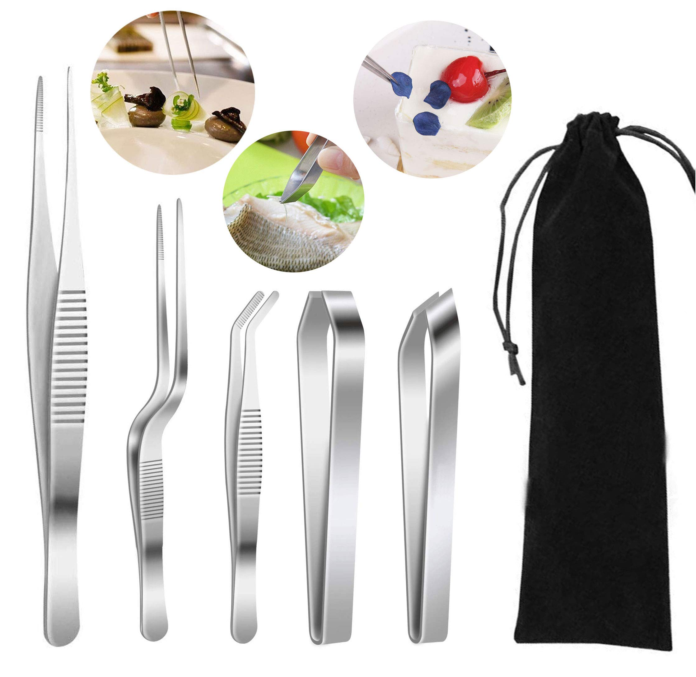 5 Pieces Stainless Steel Cooking Tweezers Precision Tongs, Fish Bone Tweezers for Decorating and Plating Tool(Includes: Storage Bag)