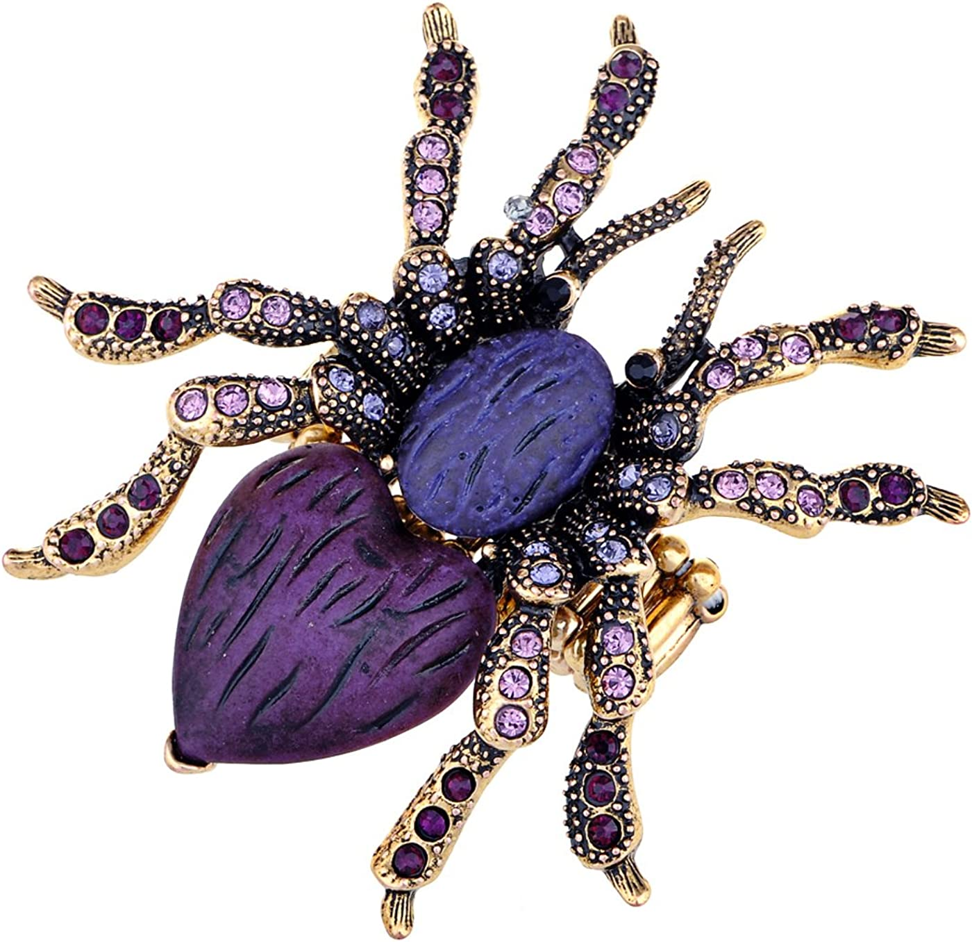 Alilang Stretchy Golden Tone Purple Rhinestones Spider Discount is also underway Tar Max 83% OFF Heart