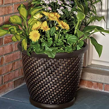 "Suncast 1807J4 TRV174255 18"" x 16.5"" Resin Planter-Lightweight Contemporary Flower Po, Dark Brown"