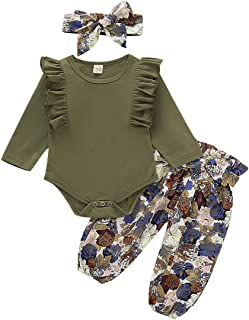 Happy Town 0-24M Infant Baby Girl Ruffle Long Sleeve Solid Color Bodysuit and Bowknot Floral Pants with Headband Outfits Set