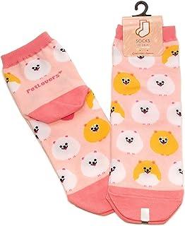 2足セット ポメラニアン レディース ソックス Pomeranian Socks ペットとアニマルソックス Pet & Animal Socks SD-2007 ペットラバーズピンク