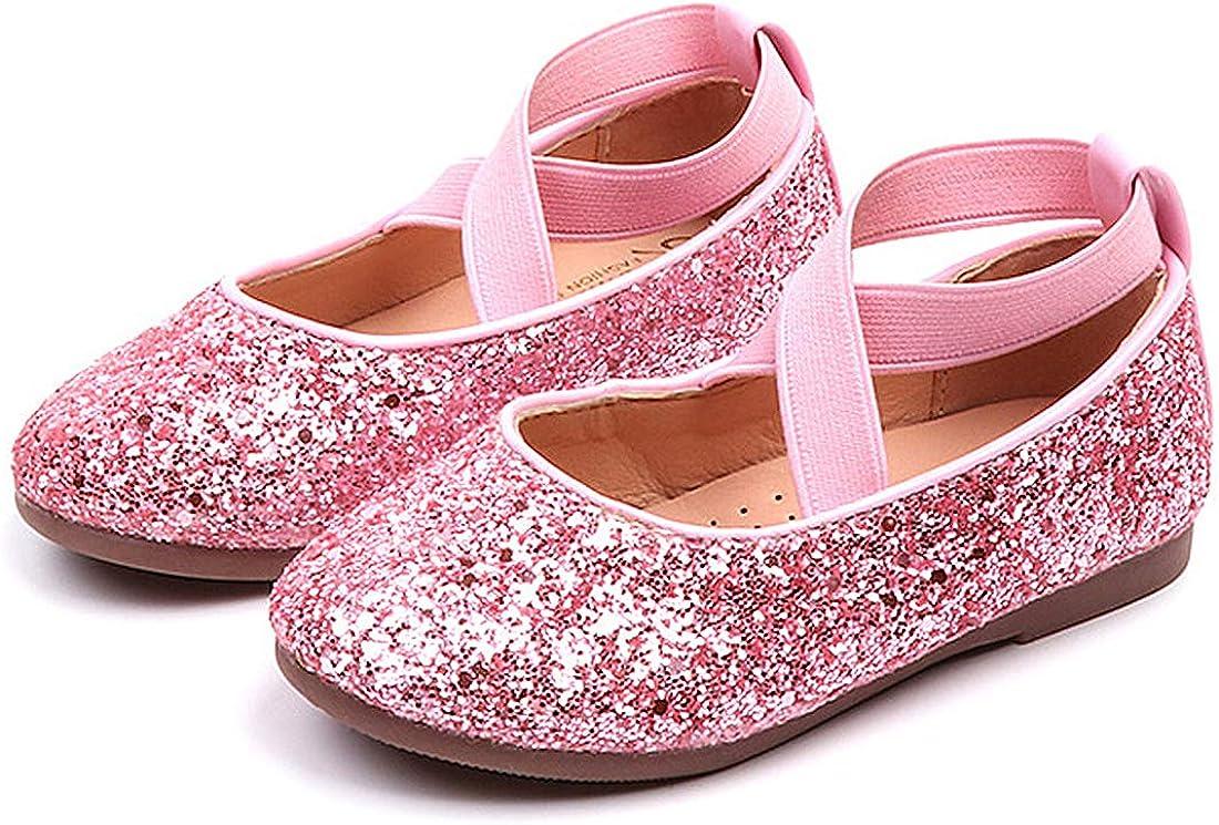 PrettyQueen Toddler Little Girls Glitter Dress Shoes Slip On Ballet Mary Jane Flats for Princess Wedding Party School