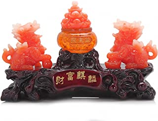 "Wenmily Large Size Feng Shui Chi Lin/Kylin and Treasure Basin Wealth Porsperity Figurine, Best Housewarming Congratulatory Gift (11""(L) x 3.8""(W) x 7.6""(H))"