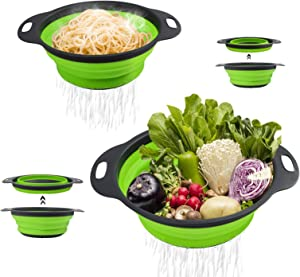 Foply 2PCS Colanders, Collapsible Colanders and Food Strainers, Diameter Sizes 7.6in and 9.4in, Pasta Vegetables and Fruits Kitchen Mesh Folding Silicone Colander Strainer Set, Green and Grey