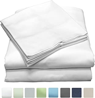 Callista Twin Size Sheet Sets|100% Cotton|Extra Soft Sateen|Deep Pockets Twin Bedsheets | 600 Thread Count Easy Fit, Breathable and Cooling Sheets |Luxury 3 Pc Twin Set - White