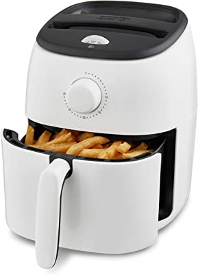 Dash DCAF200GBWH02 Tasti Crisp Electric Air Fryer Oven Cooker with Temperature Control, Non-stick Fry Basket, Recipe Guide + Auto Shut Off Feature, 1000-Watt, 2.6Qt, White