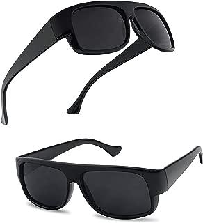 Classic Old School Eazy E Square Flat Top OG Loc Sunglasses (2-Pack Black)