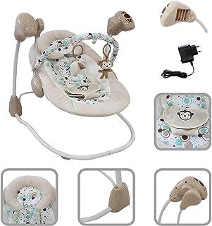 Todeco - Hamaca para Bebes, Mecedora para Bebés - Tamaño: 68 x 62 x 61 cm - Función Swing: 5 ajustes - Patrón de mono blanco