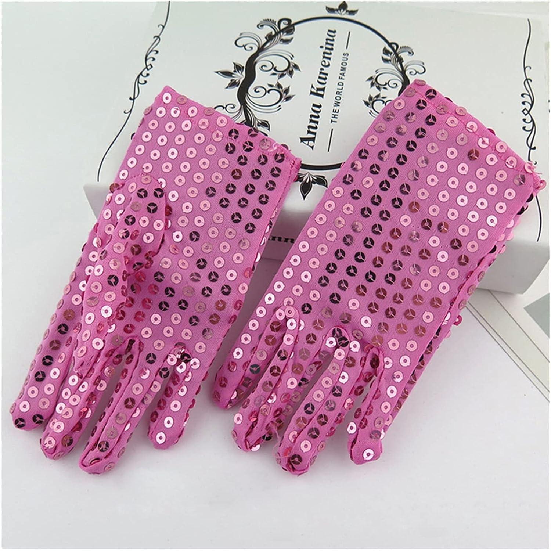Bridal Gloves Sequins Wedding Flower Girl Gloves Princess Dress Gloves Kids Mittens Children Performance Birthday Christmas Party Gloves (Color : Pink)