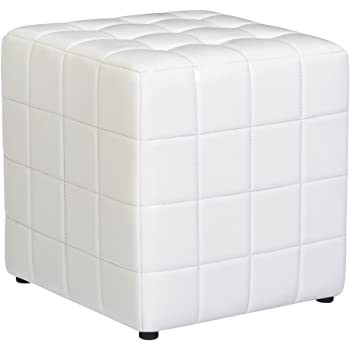 First Hill Altair Square Faux-Leather Ottoman - Moonlight White