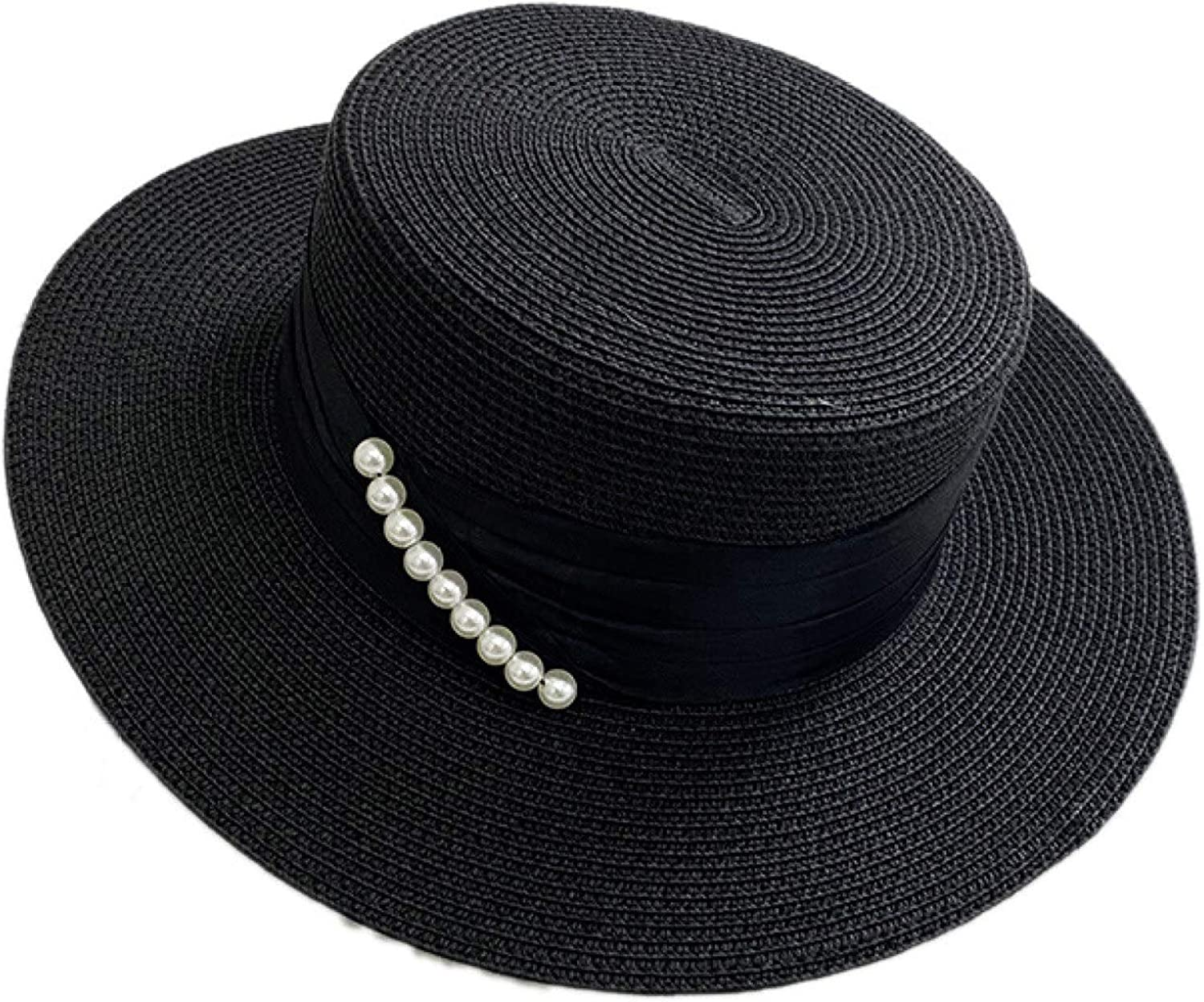 ASO-SLING Formal Straw Fedora Hat for Womans UPF 50+ Boater Hats Elegant Ribbon Pearl Derby Hat for Church Wedding