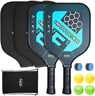 A11N Premium Pickleball Paddle Set or Single, 8 oz USAPA Approved Pickleball Racquets - Graphite Face & Polymer Core  Ultra Cushion Grip, Set Includes Indoor & Outdoor Balls, Covers, Overgrips and Bag