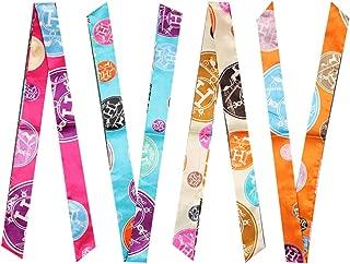 4 Pairs Narrow Handbag Handle Wrap Ribbon Neckerchief Scarf for Women