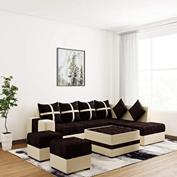 WUDCORP Boston Brown Full Sofa Set with Center Table and 2 Puffies (Multicolor) (8 * 6, Brown)
