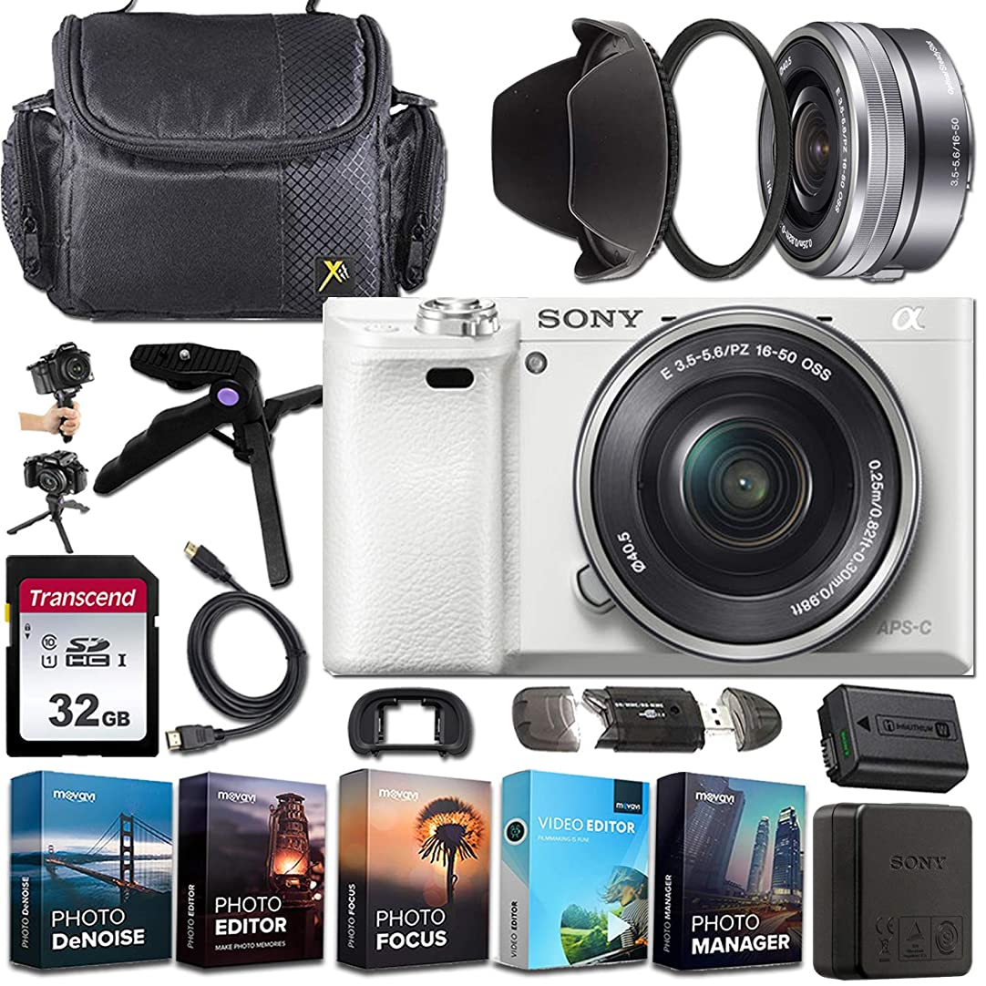 Sony Alpha a6000?Mirrorless E-Mount Camera with APS-C Sensor (White) + Sony E PZ 16–50?mm F3.5–5.6 OSS Lens + Exclusive Accessory Bundle
