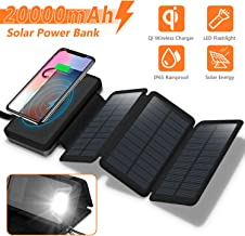 Solar Charger 20000mAh, 4.5W Qi Wireless Charger Portable Power Bank External Battery Back with 3 Solar Panels, Flashlight, Dual 5V/2.1A USB Port, IP65 Rainproof for Camping Hiking Fishing(Black)