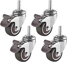 Set van 4 zwaar uitgevoerde zwenkwielen voor trolley Rubberen zwenkwiel 50 mm diameter 8/10/12 X 25 mm bout met remmen voo...