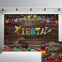 Mocsicka Mexican Fiesta Backdrop Vintage Wood Fiesta Party Sprinkles Vinyl Background 7x5ft Mexican Banner Brights Lights Fiesta Party Backdrops Party Studio Props