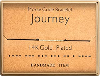 Journey Bracelet Morse Code Bracelet 14k Gold Plated Beads on Silk Cord Friendship Bracelet Mindful Gift for Journey