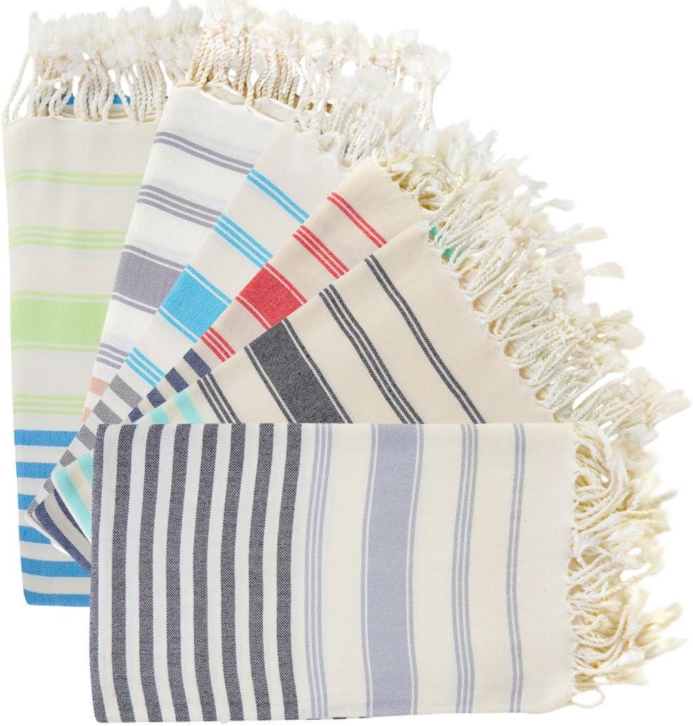 BOSPHORUS (Set of 6) 100% Turkish Cotton Bath Beach Hammam Towel