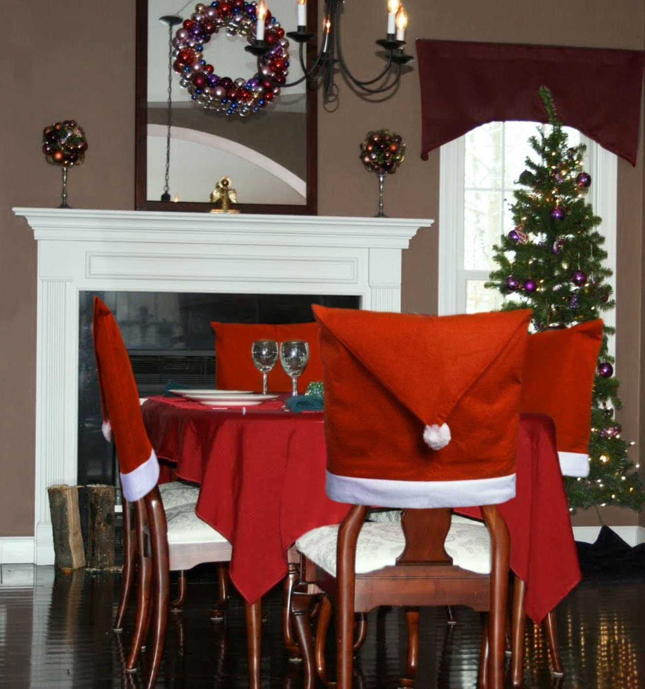 Santa Hat Dining Room Chair Covers Set Of 4 Kitchen Christmas Decorations Indoors Home Kitchen