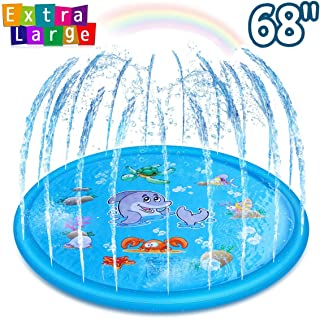 Pipigo Splash Pad Sprinkler Pad For Kids Toddlers 68 Inch Water Pad Play Mat Outdoor Water Play Sprinker Mat Inflatable Water Toys Gifts For 2 3 4 5 6 7 8 9 Year old Summer Toys